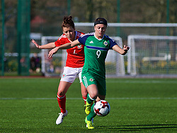 YSTRAD MYNACH, WALES - Wednesday, April 5, 2017: Northern Ireland's Simone Magill in action during the Women's International Friendly match against Wales at Ystrad Mynach. (Pic by Laura Malkin/Propaganda)