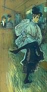 Jeanne Avril dancing' 1892: Henri Toulouse Lautrec (1864-1901) French painter, draftsman and illustrator.   Oil on cardboard.
