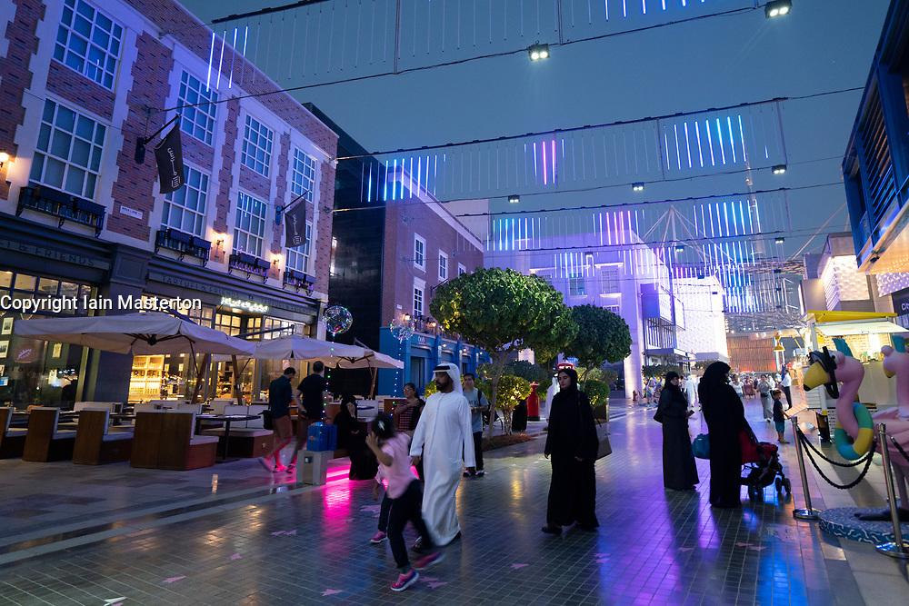 Night at the new modern City Walk shopping district in Dubai, United Arab Emirates.