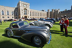 © London News Pictures. 07/09/2012. Windsor, UK .  A 1938 Delahaye V12 (front) 60 of the rarest motorcars from around the world at Windsor Castle in Berkshire for the WIndsor Castle Concours Of Elegance on September 07, 2012. The three day event is open to the public on Saturday and Sunday. Photo credit: Ben Cawthra/LNP