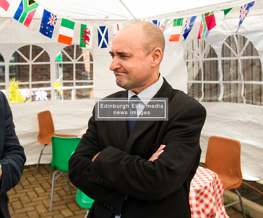 Pictured: Councillor Ricky Henderson, convenor of health and social care opened the games<br /> <br /> First-ever care home games tournament took place over two days at Edinburgh's Inchview Care home. More than 90 athletes from other care homes gathered to  compete in events including javelin, curling and dancing. <br /> <br /> <br /> <br /> Ger Harley   EEm 27 July 2016