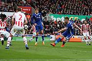 Gary Cahill of Chelsea (24) shoots and scores his teams 2nd goal. Premier league match, Stoke City v Chelsea at the Bet365 Stadium in Stoke on Trent, Staffs on Saturday 18th March 2017.<br /> pic by Andrew Orchard, Andrew Orchard sports photography.