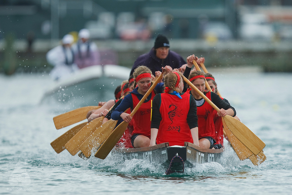 March 22 2009. School teams from the Wellington region compete during the 2009 New Zealand Community Trust Dragonboat Festival.