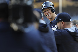 October 18, 2017 - Bronx, NY, USA - The New York Yankees' Aaron Judge during batting practice prior to action against the Houston Astros in Game 5 of the American League Championship Series at Yankee Stadium in New York on Wednesday, Oct. 18, 2017. (Credit Image: © Andrew Savulich/TNS via ZUMA Wire)