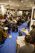 A Houdini-themed sketch evening at the Society of Illustrators. Models for the evening session were Emperor Vanity Society, in the top hat, and Ariel Krupnik.