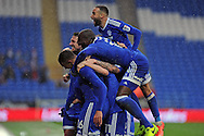 Cardiff City players celebrate with Kenneth Zohore (in huddle) after he scores  his and Cardiff's second goal. EFL Skybet championship match, Cardiff city v Fulham at the Cardiff city stadium in Cardiff, South Wales on Saturday 25th February 2017.<br /> pic by Carl Robertson, Andrew Orchard sports photography.