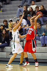 10 January 2009: Hope Schulte pins in Heather Gilmore. The Illinois Wesleyan Titans, ranked #1 in the latest USA Today/ESPN poll, take down the Lady Reds of Carthage and remain undefeated,  2-0 in the CCIW and over all to 12-0. This is the first time in the history of the Lady Titans Basketball they have been ranked #1 The Titans and Lady Reds played in the Shirk Center on the Illinois Wesleyan Campus in Bloomington Illinois.