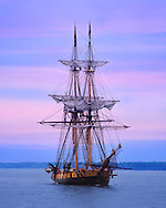The USS Niagara Afloat On A Gorgeous Summer Evening After Sunset On Lake Erie At Erie Pennsylvania, It's Home Port, USA