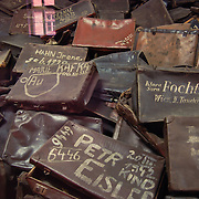 Jewish suitcases with names in Auschwitz museum