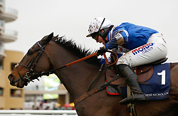 Frodon and Bryony Frost clear the last fence before going on to win The Crest Nicholson Handicap Steeple Chase Race run during Festival Trials Day at Cheltenham Racecourse.