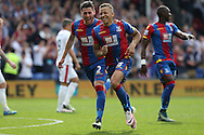 Dwight Gayle of Crystal Palace  (r) celebrates with Joel Ward of Crystal Palace after scoring his sides 2nd goal to make it 2-1.Barclays Premier League match, Crystal Palace v Stoke City at Selhurst Park in London on Saturday 7th May 2016. pic by John Patrick Fletcher, Andrew Orchard sports photography.