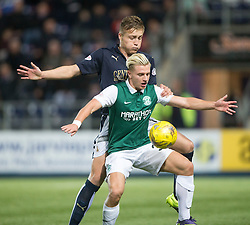 Falkirk's Peter Grant and Hibernian's Jason Cummings. Falkirk 0 v 1 Hibernian, Scottish Championship game played 20/10/2015 at The Falkirk Stadium.
