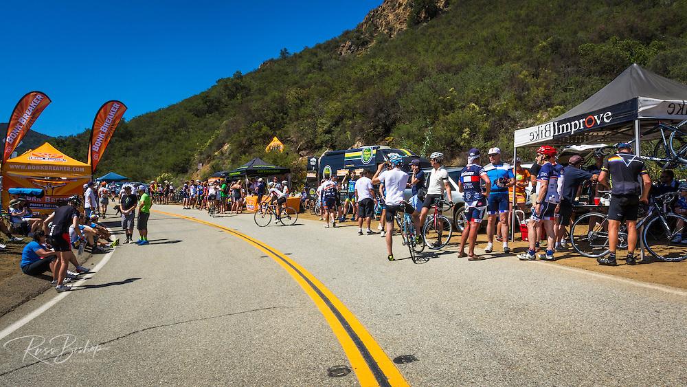 Fans at the Amgen Tour of California bicycle race, Santa Monica Mountains, California USA