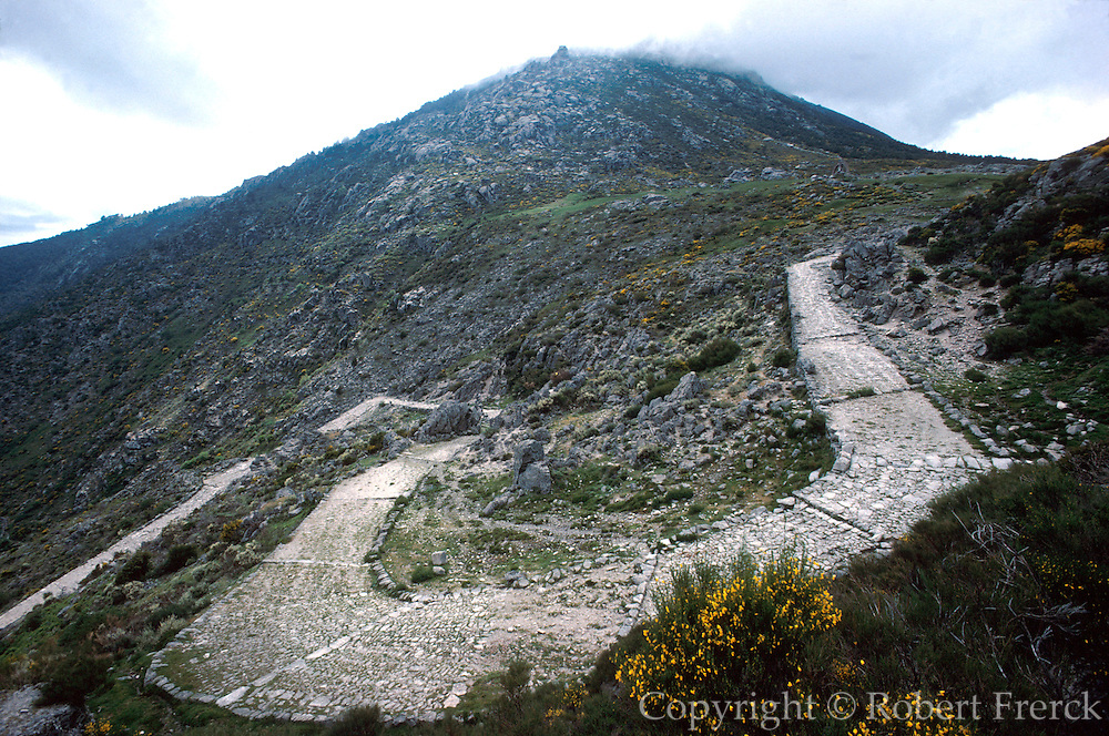 SPAIN, CASTILE and LEON Sierra de Gredos Mountains, southwest of Avila; Roman Road, 1st. century AD, at Puerto de Pico pass