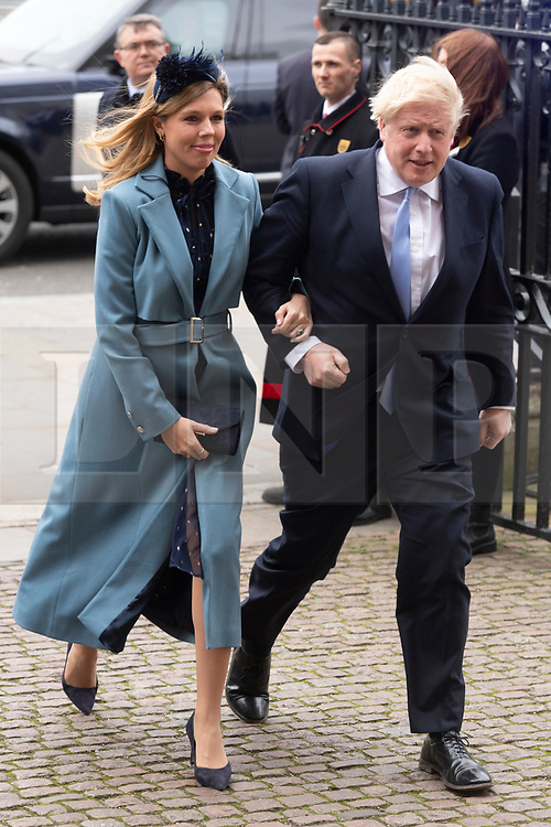 © Licensed to London News Pictures. 09/03/2020. London, UK. Carrie Symonds and British Prime Minister Boris Johnson attends the the annual Commonwealth Service at Westminster Abbey. Photo credit: Ray Tang/LNP