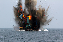 """Flame and smoke are seen from destroyed Malaysian vessels off the coast of Kuala Langsa in Aceh, Indonesia, April 5, 2016. Indonesian authorities sank 23 foreign fishing boats on Tuesday, saying they were """"operating illegally in the archipelago's vast waters in continuation efforts for anti-poaching."""". EXPA Pictures © 2016, PhotoCredit: EXPA/ Photoshot/ Junaidi<br /> <br /> *****ATTENTION - for AUT, SLO, CRO, SRB, BIH, MAZ, SUI only*****"""