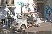 Old Citroen 2CV car remodelled. Bordeaux city, Aquitaine, Gironde, France