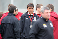 Wales manager Chris Coleman looks on. Wales football team training and player media session in Cardiff on Tuesday 19th March 2013.  The team are together ahead of their next two World cup qualifying matches against Scotland and Croatia. pic by Andrew Orchard, Andrew Orchard sports photography,