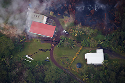 2018 05 24 - Pahoa, Hawaii, USA:  Huge ground cracks form in the Leilani Estates subdivision, indicating shallow magma movement, and potential eruption sites.<br />Photo: ZUMA/Bruce Omori/Paradise Helicopters