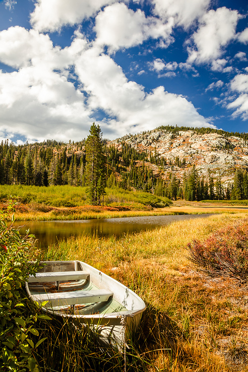 """""""Boat at Mud Lake 2"""" - Photograph of a small fishing boat shot in the morning at Mud Lake in California's Plumas National Forest."""
