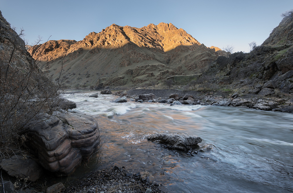 The Imnaha River at it's confluence with the Snake River, Hells Canyon, Oregon.