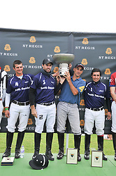 The victorious Sounth American polo team at the St.Regis International Polo Cup between England and South America held at Cowdray Park, West Sussex on 18th May 2013.  South America won by 11 goals to 9 goals.