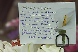 © Licensed to London News Pictures . 20/09/2014 . Manchester , UK . Flowers and tributes at the cathedral . The funeral of Heywood and Middleton MP Jim Dobbin at Salford Cathedral today (Saturday 20th September 2014) . Photo credit : Joel Goodman/LNP