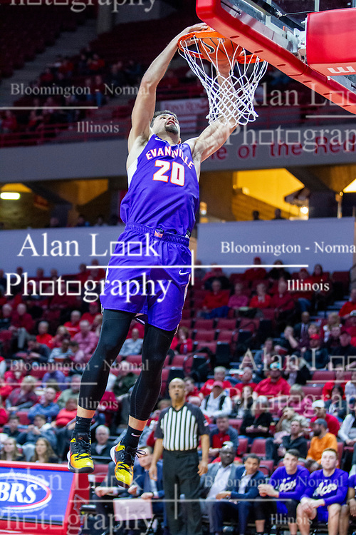 NORMAL, IL - January 29: Sam Cunliffe during a college basketball game between the ISU Redbirds and the University of Evansville Purple Aces on January 29 2020 at Redbird Arena in Normal, IL. (Photo by Alan Look)