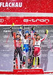 08.01.2019, Hermann Maier Weltcupstrecke, Flachau, AUT, FIS Weltcup Ski Alpin, Slalom, Damen, Siegerehrung, im Bild v.l. Mikaela Shiffrin (USA, 2. Platz), Petra Vlhova (SVK, 1. Platz), Katharina Liensberger (AUT, 3. Platz) // f.l. second placed Mikaela Shiffrin of the USA race winner Petra Vlhova of Slovakia third placed Katharina Liensberger of Austria during the winner Ceremony for the ladie's Slalom of FIS Ski Alpine World Cup at the Hermann Maier Weltcupstrecke in Flachau, Austria on 2019/01/08. EXPA Pictures © 2019, PhotoCredit: EXPA/ Johann Groder