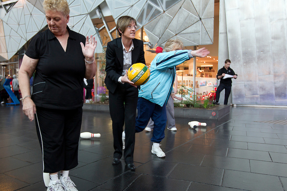 Federation Square, Melboure, 18th August 2010:  Minister for Senior Victorians Lisa Neville MP joins members of the Council Of The Aged Physical Activity Group in activities at the launch of the 2010 Seniors Festival Program at Federation Square..Photo: Joseph Feil