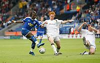 Photo: Steve Bond/Richard Lane Photography<br />Leicester City v MK Dons. Coca-Cola League One. 09/08/2008. Max Gradel (L) shoots as Dean Lewington (C) closes him down