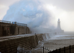 Licensed to London News Pictures. 10/10/2013. Tynemouth, North Tyneside, UK, Forecasters predicting severe weather at the coast were not disappointed as the morning high tide and strong winds whipped up the seas into a frenzy at Tynemouth Pier. Photo credit: Adrian Don/LNP