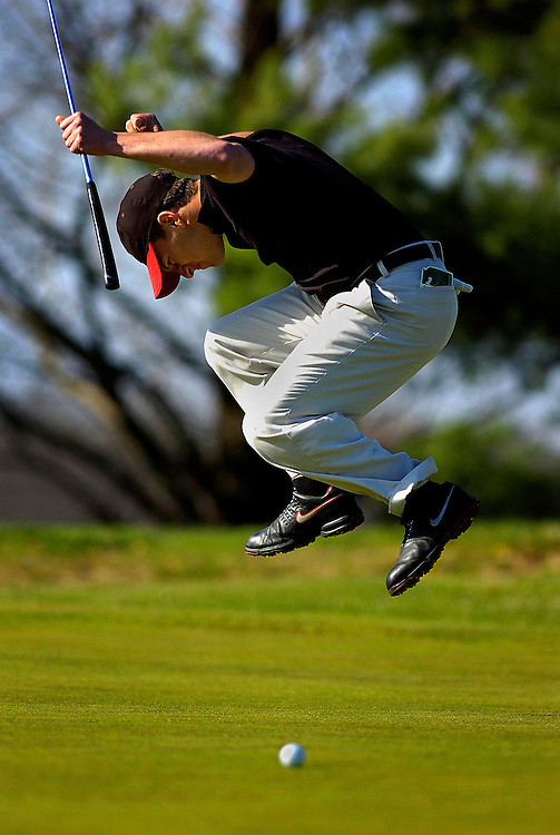 Allentown senior Mike Argondizza reacts to a miss putt during the match against Wall High School held at Cream Ridge Golf Club in Upper Freehold, New Jersey on April 17, 2009.