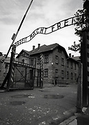 Entrance gate to the Auschwitz-Birkenau concentration camp, Auschwitz, Poland<br />