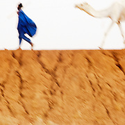 Tuareg  with camel near Timbuktu.Timbuktu region.Mali.