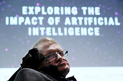 Stephen Hawking ahead of speaking at the launch of the Leverhulme Centre for the Future of Intelligence (CFI) in Cambridge.