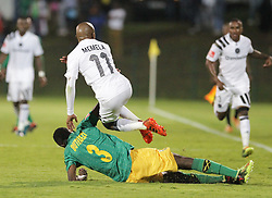 17032018 (Durban) Luvuyo Memela of pirates and Mzwandile Buthelezi of Arrows tackle when Orlando Pirates walloped Golden Arrows 2-1 at the ABSA premier league encounter at Princess Magogo Staduim, in Kwa-Mashu, Durban. Pirates has advance their league position to number 2 with 41 points after Sundowns with 42 points lead.<br /> Picture: Motshwari Mofokeng/African New Agency/ANA