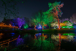 © Licensed to London News Pictures. 11/11/2018. LONDON, UK. The illuminated lake in The Enchanted Woodland which has opened to the public again at Syon House in West London.  An illuminated trail takes visitors through gardens designed by Capability Brown, round an ornamental lake and ends at the spectacular Great Conservatory.   Photo credit: Stephen Chung/LNP
