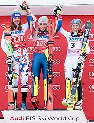 26.11.2017, Killington, USA, FIS Weltcup Ski Alpin, Killington, Slalom, Damen, Siegerehrung, im Bild v.l. Petra Vlhova (SVK, 2. Platz), Mikaela Shiffrin (USA, 1. Platz)Bernadette Schild (AUT, 3. Platz), // f.l. second placed Petra Vlhova of Slovakia winner Mikaela Shiffrin of the USA third placed Bernadette Schild of Austria during the winner Ceremony for the ladie's Slalom of FIS Ski Alpine World Cup IN Killington, United Staates on 2017/11/26. EXPA Pictures © 2017, PhotoCredit: EXPA/ Johann Groder