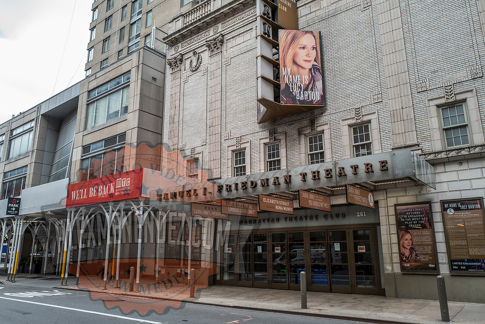 The Samuel J. Friedman Theater remains closed during the holiday season with Coronavirus (Covid-19) outbreak in Manhattan, New York on Tuesday, December 8, 2020. (Alex Menendez via AP)