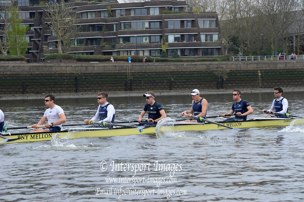 London, United Kingdom.  Friday Morning, Oxford Training session  2014, Varsity, Tideway Week, annual training week, both crews based at Putney, Championship Course,  River Thames;   10:23:08 - Friday  - 04/04/2014  [Mandatory Credit; Peter Spurrier/Intersport Images].<br /> <br /> OUBC. Bow. Storm URU, 2. Tom WATSON, 3. Karl HUDSPITH, 4. Thomas SWARTZ, 5. Malcolm HOWARD, 6. Mike DI SANTO, 7. Sam O'CONNOR, Stroke. Constantine LOULOUDIS and Cox Laurence HARVEY.
