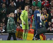 Arsenal's Wojciech Szczesny goes off injured<br /> <br /> Barclays Premier League- Arsenal vs Manchester United - Emirates Stadium - England - 22nd November 2014 - Picture David Klein/Sportimage
