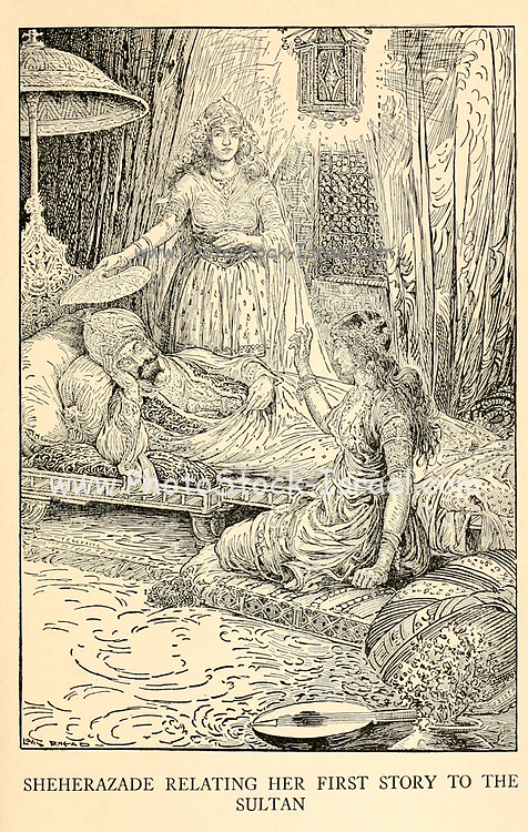 Sheherazade Relating Her First Story To The Sultan from the book '  The Arabian nights' entertainments ' Test and Illustrations by Louis Rhead, Published  in New York by Harper & Brothers in 1916. In order to save her life, Sheherazade entertains the sultan by telling him wondrous stories