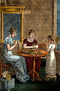 Women and girl making plaited straw hats. From 'The Book of English Trades', London, 1821. Hand-coloured wood engraving.