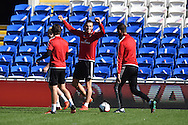 Gareth Bale of Wales (c) during Wales football team training session at the Cardiff city stadium  in Cardiff, South Wales  on Monday 12th October 2015. The team are training ahead of their final Euro 2016 qualifying against Andorra tomorrow.<br /> pic by  Andrew Orchard, Andrew Orchard sports photography.