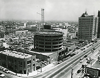 1955 Capitol Records Tower under construction on Vine St.