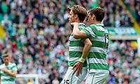 24/05/15 SCOTTISH PREMIERSHIP<br /> CELTIC v INVERNESS CT<br /> CELTIC PARK - GLASGOW<br /> Celtic's Stefan Johansen (left) celebrates his goal with team-mate Stefan Scepovic