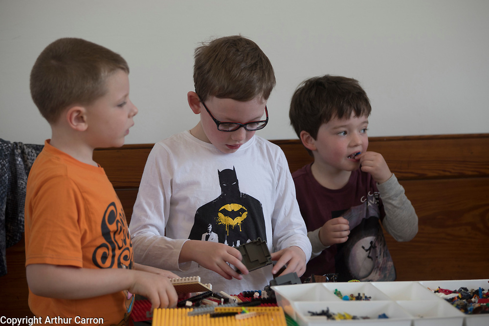 NO FEE PICTURES 23/4/19 Ivan Loughrey, Charlie Coleman and Dan Coleman, Inchicore, at the Housing, Art and The Envoirnment Childrens workshop at Richmond Barraks in Inchicore, as part of the Vienna Model of Housing Exhibition Picture:Arthur Carron