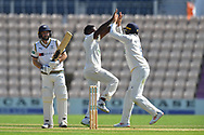 Wicket - Fidel Edwards of Hampshire celebrates taking the wicket of Adam Lyth of Yorkshire during the Specsavers County Champ Div 1 match between Hampshire County Cricket Club and Yorkshire County Cricket Club at the Ageas Bowl, Southampton, United Kingdom on 11 April 2019.