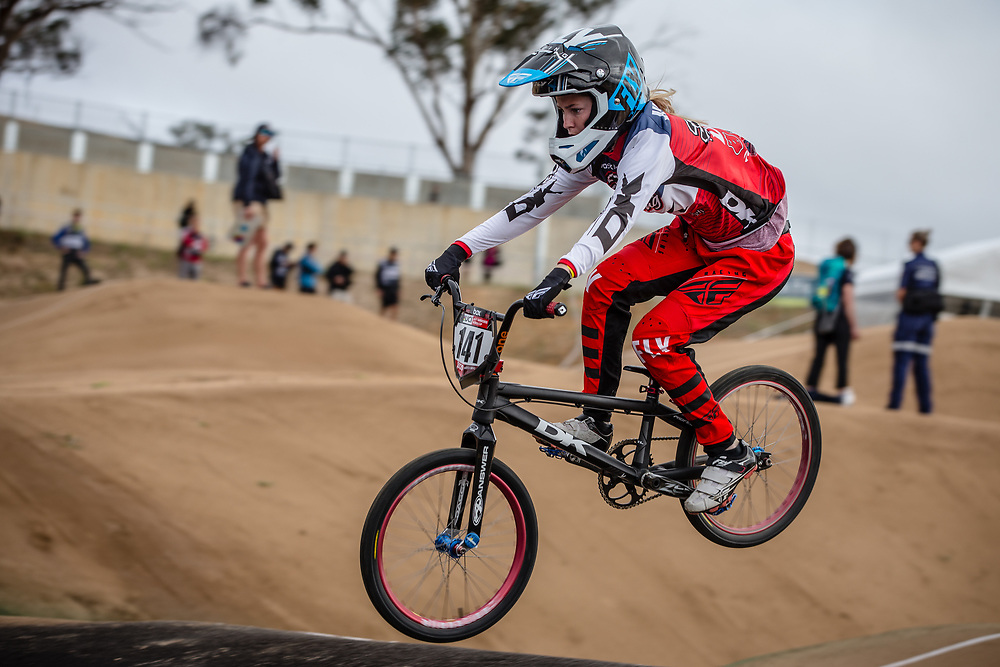 #141 (VAUGHN Daleny) USA at Round 3 of the 2020 UCI BMX Supercross World Cup in Bathurst, Australia.